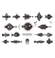set black and white stylized fishes vector image