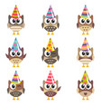 set funny owls with birthday hats vector image