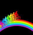 Silhouette of a cyclist a rainbow male vector image vector image