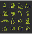 simple set ecology related outline icons vector image
