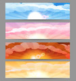 sky with sun and clouds banner set vector image vector image