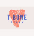 steak t-bone poster with steak silhouette text vector image vector image