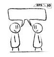 stick figure conversation 2 man with speak bubble vector image vector image