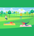 stretching and pumping people in city park vector image vector image