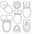 toilet equipment top view set for interior design vector image