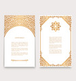 vintage cards with gold border pattern vector image vector image