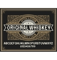 Vintage whiskey label typeface with decorative vector image
