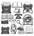 vintage writer elements set vector image vector image
