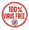 100 virus free sign or stamp vector image vector image