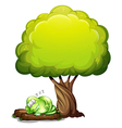 A green three-eyed monster sleeping soundly under vector image vector image