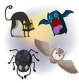 Animal Halloween Cartoon Collection Set vector image