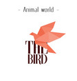 animal world the bird orange paper bird background vector image vector image