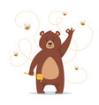 bear character eating sweet honey vector image vector image