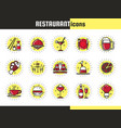 bright restaurant icons vector image vector image