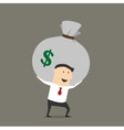 Businessman with money bag cartoon character vector image vector image