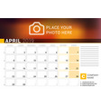 calendar for april 2019 design print template vector image vector image