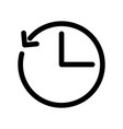 clock icon with arrow as a time shift outline vector image vector image
