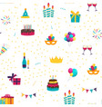 cute birthday seamless pattern background with vector image vector image