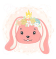 cute bunny face with flower wreath and crown in vector image vector image