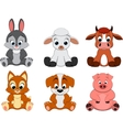 cute colorful exotic animals collection vector image vector image