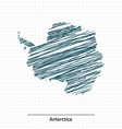 Doodle sketch of Antarctica map vector image vector image