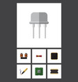 flat icon technology set of coil copper cpu vector image vector image