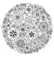 Floral antistress coloring motif vector image