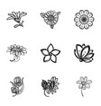 flower plant icon set simple style vector image