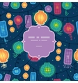 Glowing lanterns frame seamless pattern background vector image