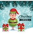greeting christmas elf and gifts with snowfall vector image vector image