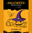 halloween hand drawn poster vector image vector image