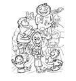 Happy peoples with ice cream doodle style vector image