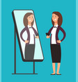 happy smiling narcissistic confident businesswoman vector image