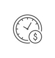 hourly payment line outline icon vector image