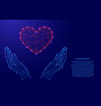 human hands protecting the heart from futuristic vector image