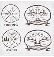 hunting and fishing vintage emblems set vector image