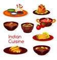 indian cuisine food dishes and desserts vector image vector image