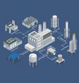 industrial buildings isometric flowchart vector image vector image
