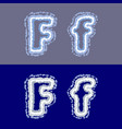 letter f on grey and blue background vector image