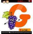 letter g with grapes cartoon vector image vector image