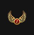 luxury letter z emblem wings logo design concept vector image vector image