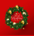 merry christmas new year red 3d wreath card vector image
