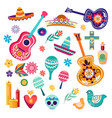 mexican carnival items flat vector image