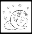 moon a graphical outline moon sleeping vector image