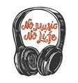 no music no life lettering phrase with headphones vector image vector image