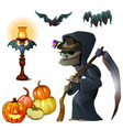 old witch with scypumpkin lantern and bats vector image vector image