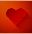 paper cut heart rate icon isolated on red vector image vector image