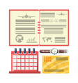 passport with calendar to travel day vector image vector image