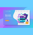 payment security landing page template vector image