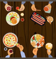 persons is eating lunch vector image vector image